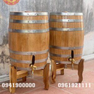 Thùng rượu gỗ sồi 50l đứng lắp vòi
