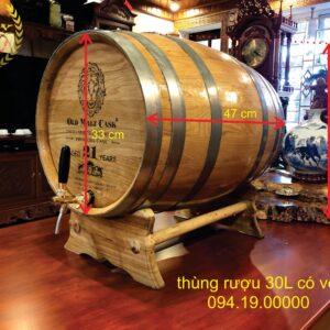 Thủng rượu gỗ sồi 30l lắp vòi
